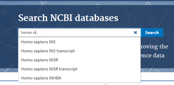 dropdown suggestions ncbi labs search