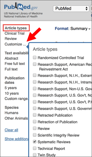Article types on the PubMed search results page. Red arrow points to customize on left side