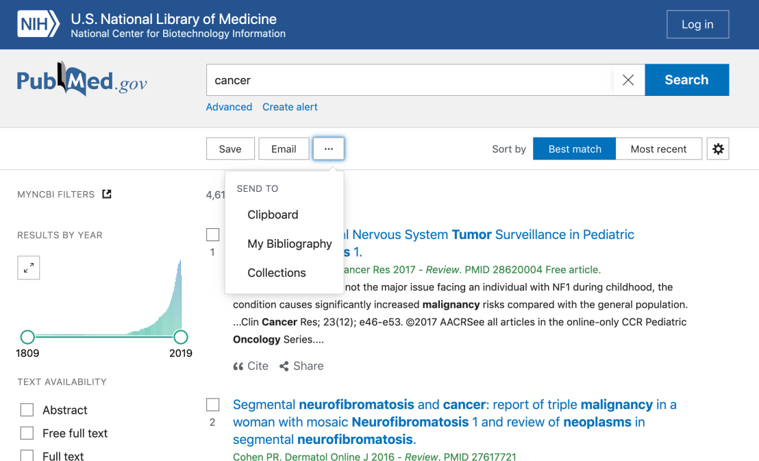 Action menu on new PubMed
