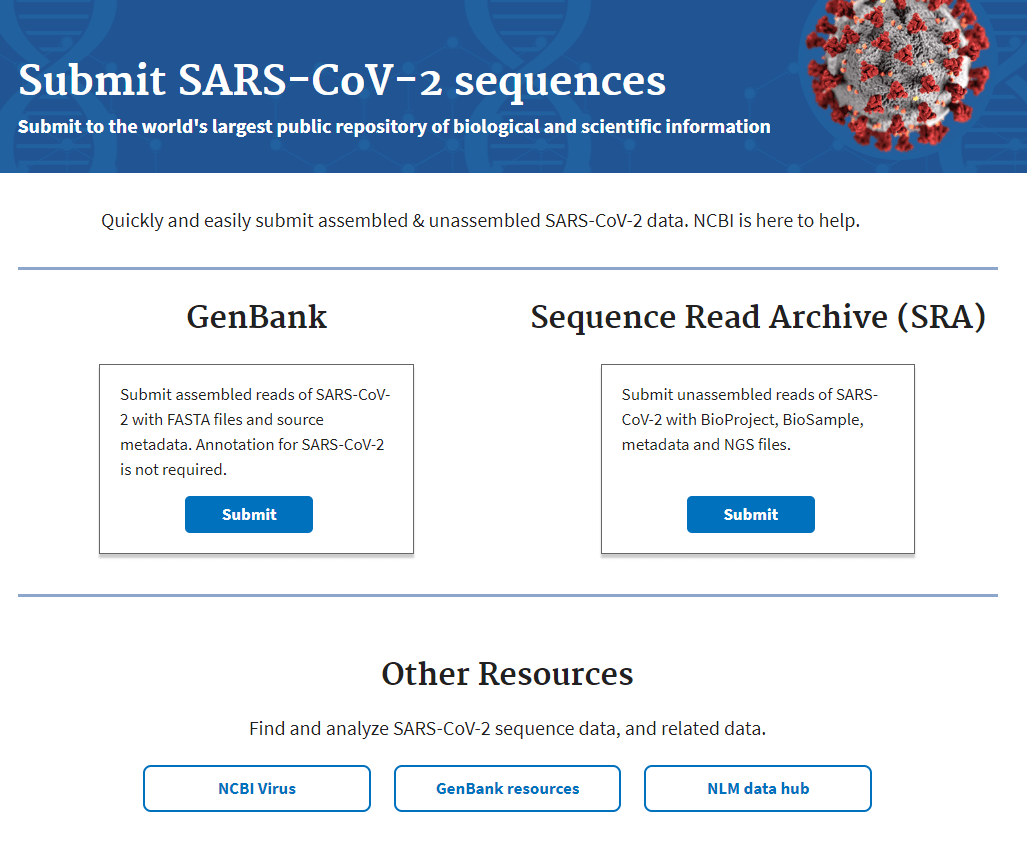 sars-cov-2 submission landing page