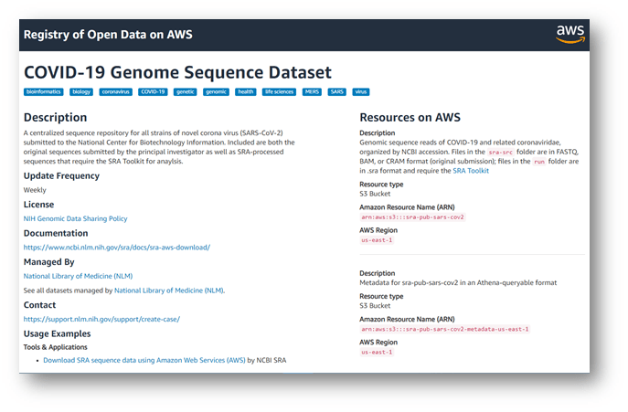 screenshot of COVID-19 genome sequence dataset on Amazon Web Services registry of open data