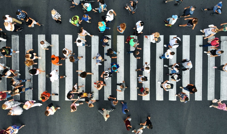 Pedestrians on pedestrian crosswalk. Top view.