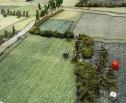 The infiltration squad appears on the US right flank. It destroys a US squad and a mortar team.
