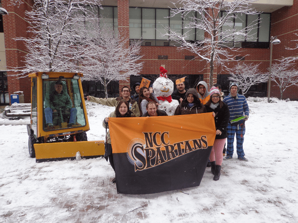 A 3-inch snowfall on Dec. 10 led to a life-sized Frosty for these Spartans.