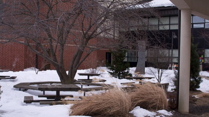 A snow-covered campus was all too normal this winter