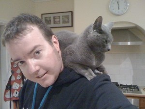 cat on shoulder