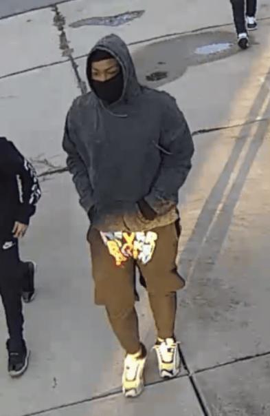 Suspect 1- black shorts with design