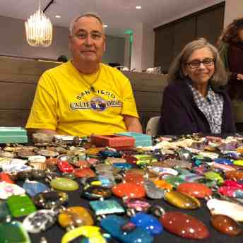 Jeff Minkin with some of his unusual, hand-crafted crystals and arrowheads.