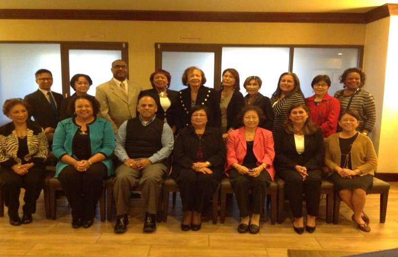 Seated from left: Leticia Hermosa(PNAA President); Debra Toney (NCEMNA Secretary); Jose Alejandro ( Vice President); Mila Velasquez (President); Elizabeth Gonzalez (Vice President); Angie Millan(Interim Treasurer); and Victoria Navarro ( Board Member). 2nd row from left: Dino Doliente (Board Member); Christina Esperat (Board Member); Eric Williams (NBNA President); Birthale Archie (Board Member); Betty Williams( NCEMNA, Co-founder, President Emeritus); Lillian Tom-Orme (Board Member); Patricia Alpert, AAPINA President); Sandra Littlejohn (Board Member); Oisaeng Hong (Board Member); and Lola Jefferson (Board Member)