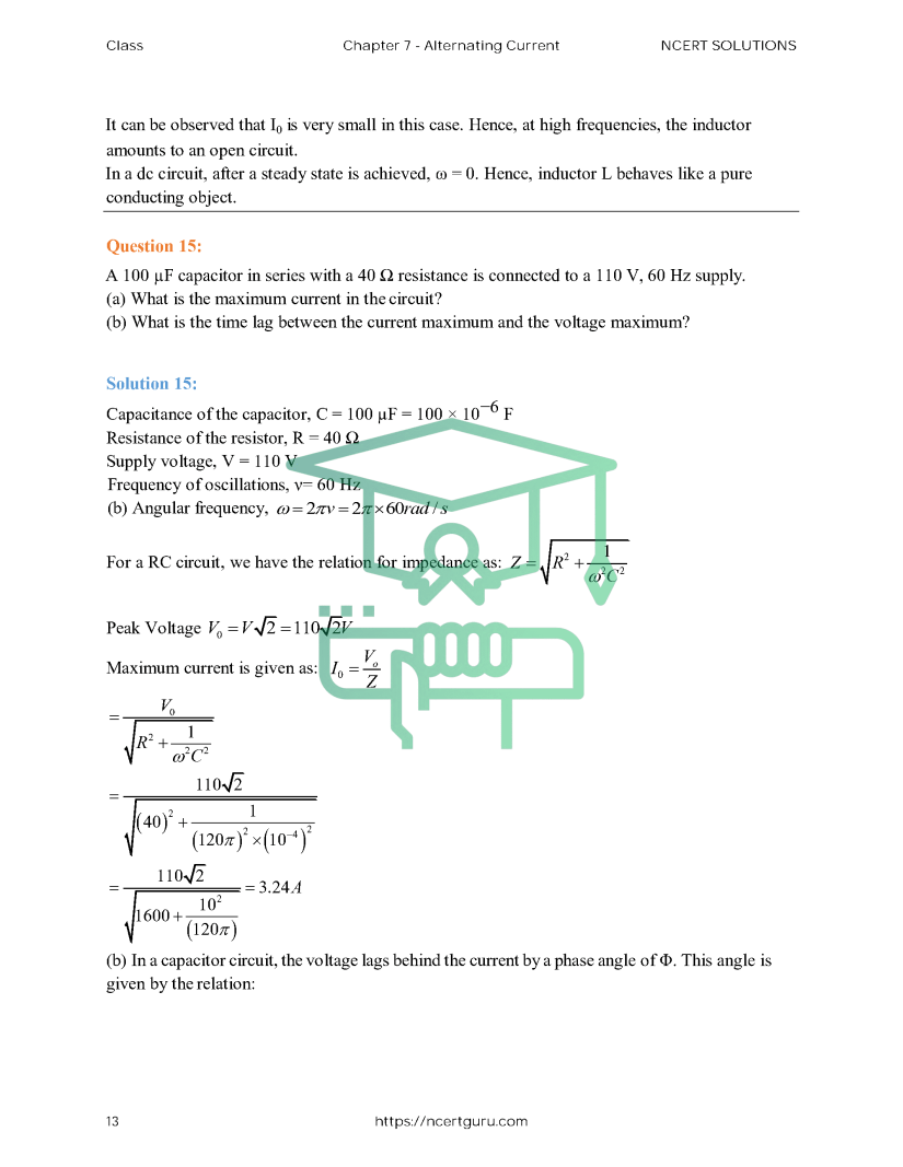 NCERT Solutions for Class 12 Physics Chapter 7