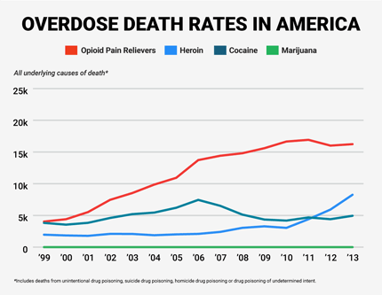 The graph above shows the increase in opioid pain relievers (such as fentanyl) and heroin overdoses that resulted in deaths in recent history. Image courtesy businessinsider.com