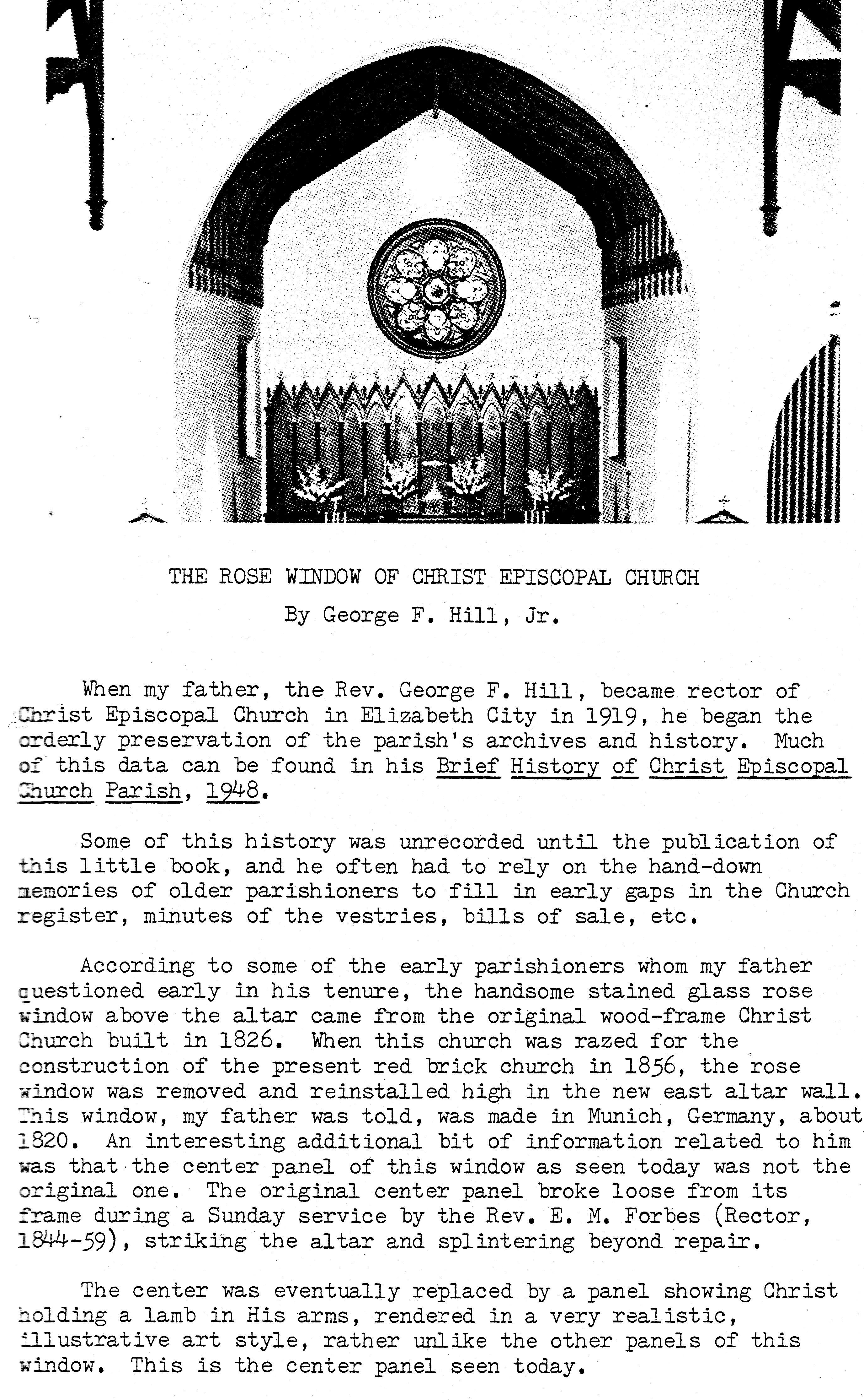 THE ROSE WINDOW OF CHRIST EPISCOPAL CHURCH By George F