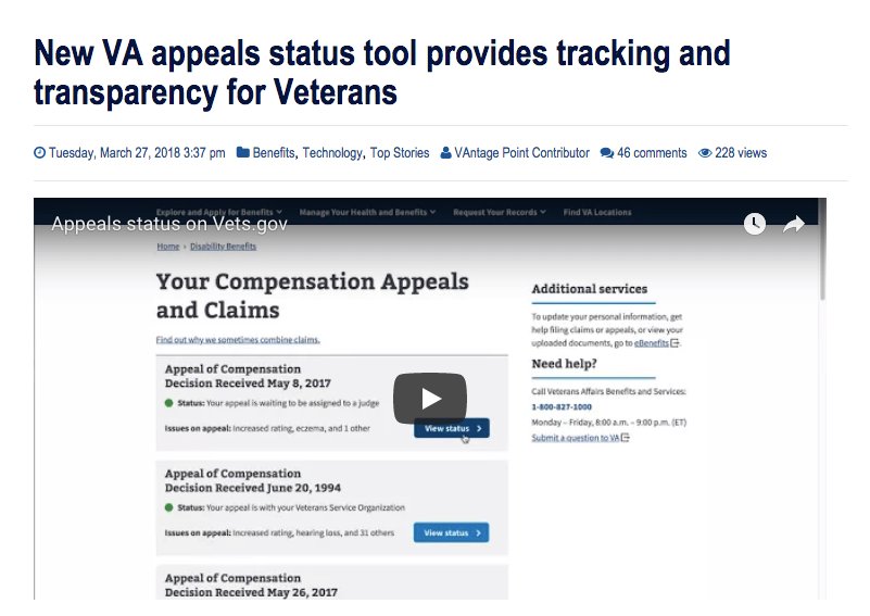 VA Launches Update of Appeals Tracking Tool