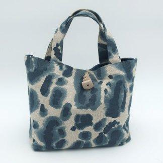small blue leopard print bag