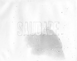 "A textured background with the text ""Saudade"""