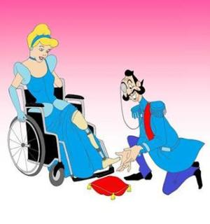 Cinderella sits in a manual wheelchair, where instead of being fitted for a glass slipper, she is being fitted for a prosthetic left leg