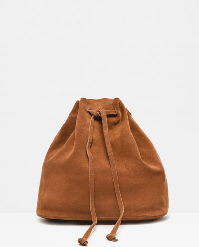 BROWN DRAWSTRING BAG ZARA S:S 16