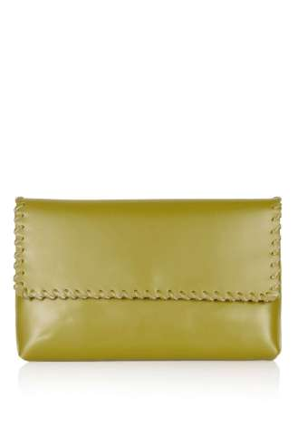 Whipstitch green clutch S:S 16 TOPSHOP