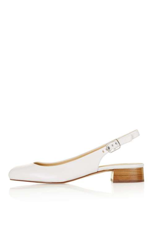 White slingbacks are a perfect way to finish off the look. Comfortable and flattering.