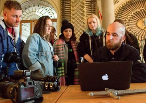 Alistair Fenn (former student) explains his job at Culzean Castle (Photograph by Craig Murray)