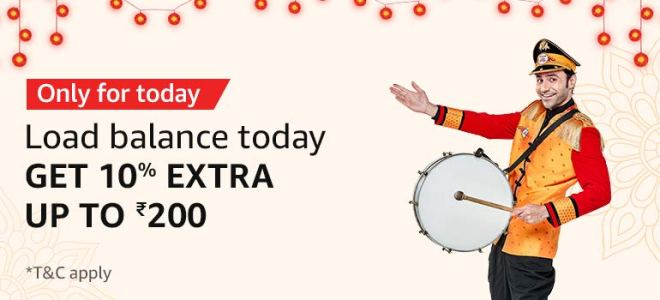 Amazon Pay Offer - Add Rs 1000 To Amazon Pay Balance & Get Rs 10% Extra Upto Rs.200