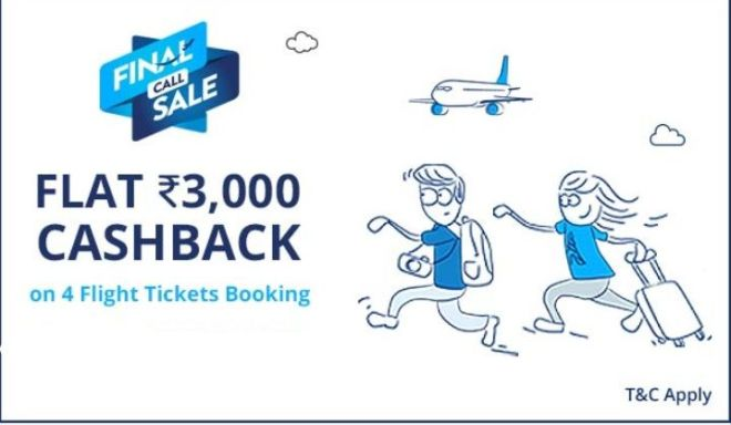 Flat Rs.3000 Cashback On 4 Flight Tickets Booking