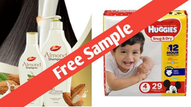 Freebies - Get Free Sample Of Dabur Almond Shampoo & Huggies