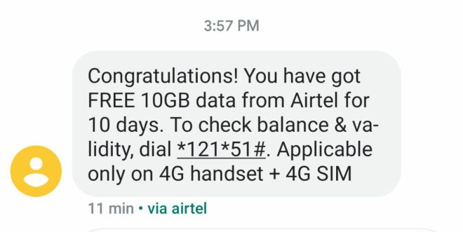 (Proof Added) Airtel Free 4G Data Offer - Get Free 10GB Data (Selected Users)