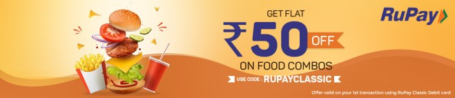 Get Flat Rs 50 off on Food Combos on your 1st Transcation on BookMyShow Using RuPay Classic Debit Card