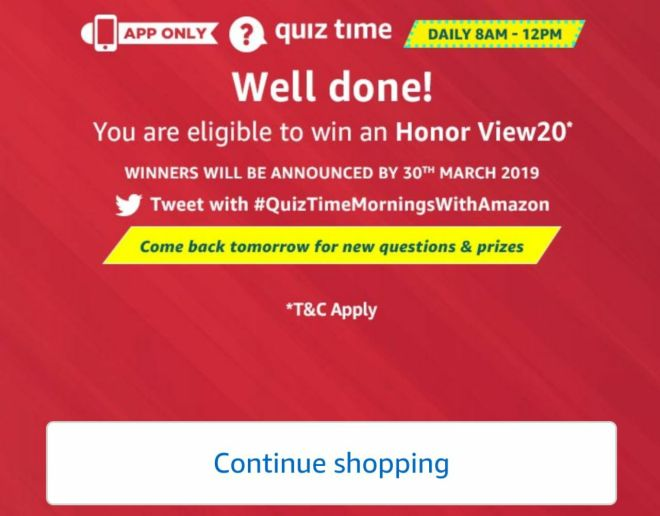 Amazon Quiz Time Daily - Today Answer of Amazon Quiz 27 February 2019