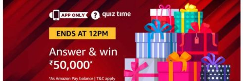 (Answer Added) Amazon Quiz Time Daily - Today Amazon Quiz Answers (29 March) & Win Rs.50000 Amazon Pay Balance