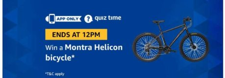 (Answer Added) Amazon Quiz Time Daily - Today Amazon Quiz Answers (31st March) & Win a Montra Helicon Bicycle