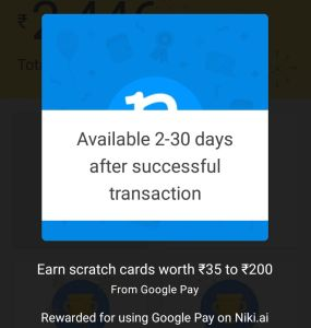 Niki App Recharge Offer - Get Scratch Card Worth Rs.35 to Rs.200 when Spend Rs.200 via Google Pay