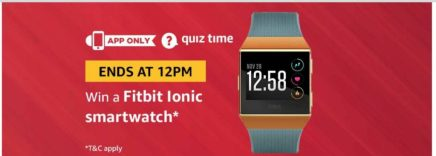 (Answer Added) Amazon Quiz Time Daily - Today Amazon Quiz Answers (2 April) & Win a Fitbit Lonic Smartwatch