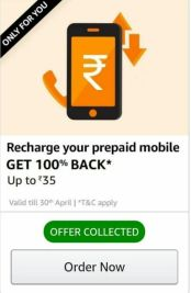 Amazon - Flat 100% Cashback Upto Rs.35 on Prepaid Recharge Using Amazon Pay (User Specific)