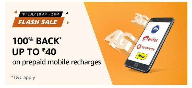 Amazon Recharge Sale - Get Rs.40 Recharge Free between 8AM – 2PM on 1st July