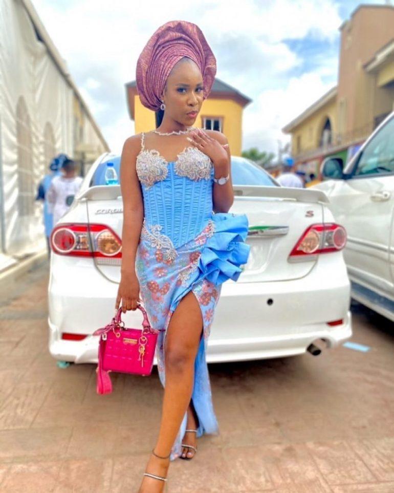 asoebi style slit dress