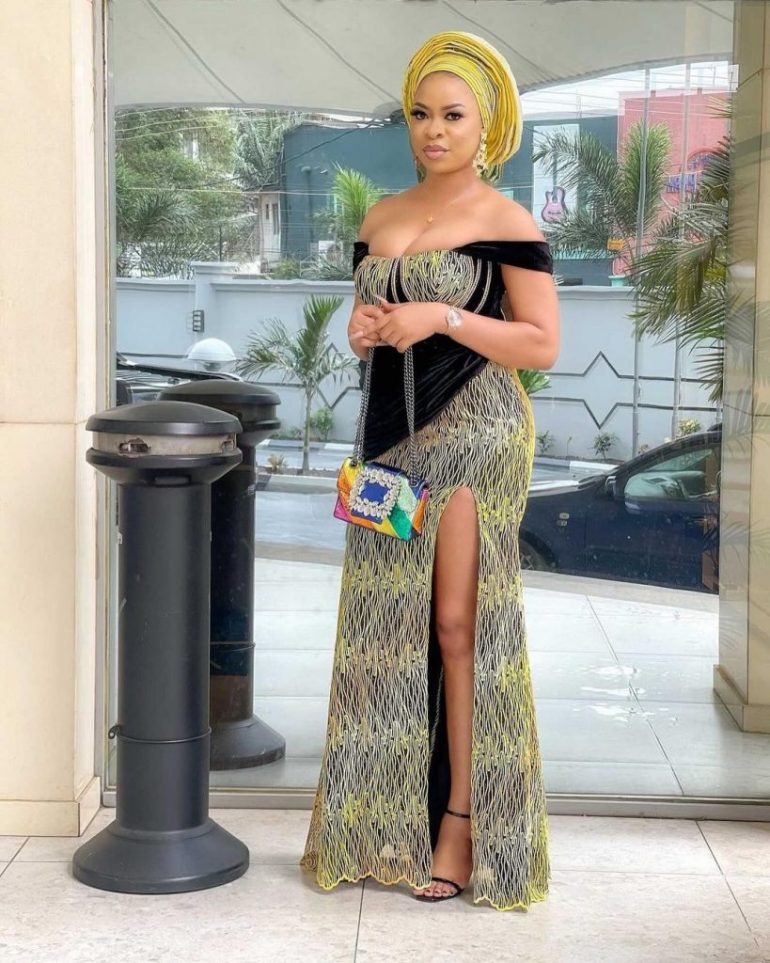 asoebi lace style offshoulder dress