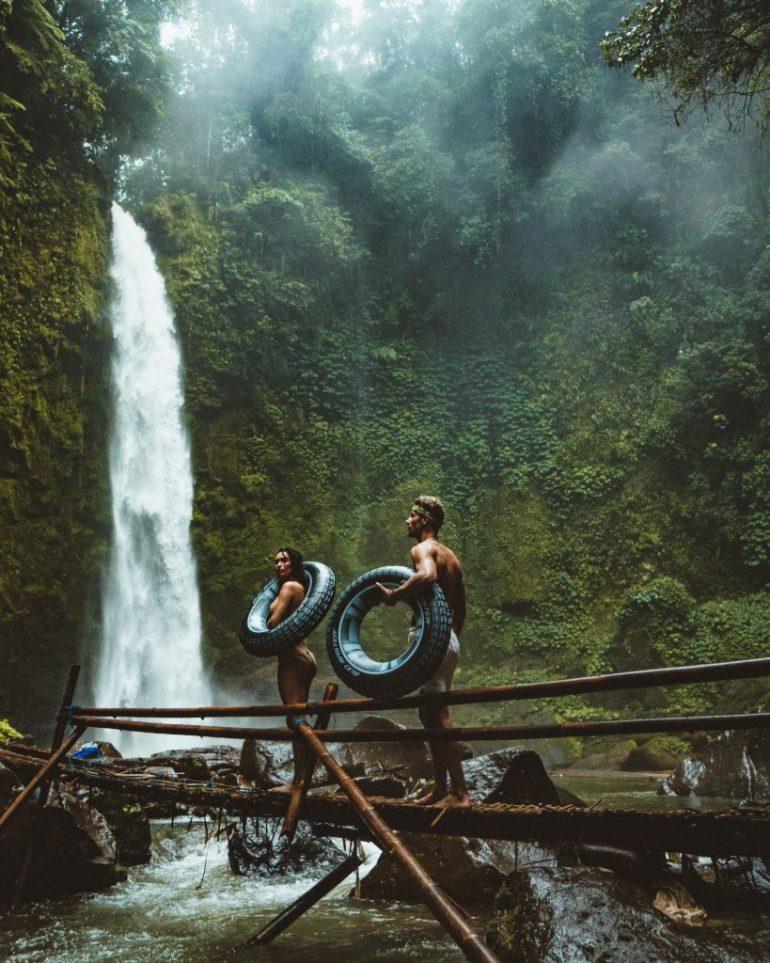 couple hiking on honeymoon