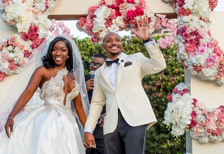 couple smiling on wedding day
