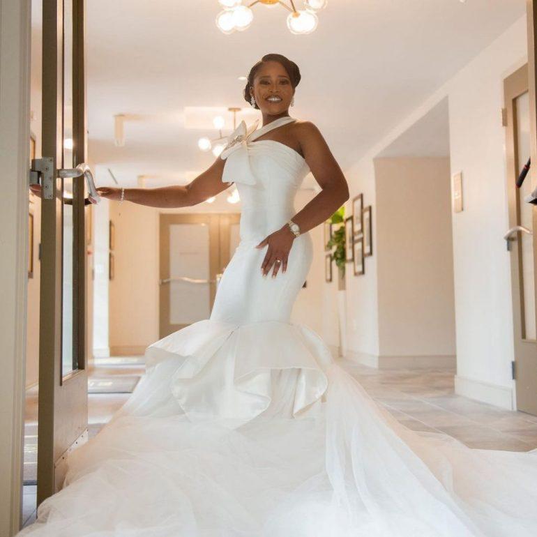 mono strap wedding dress with bow april by kunbi