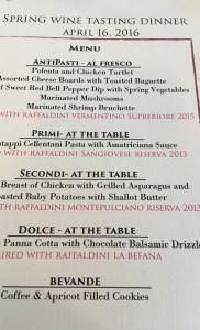 Spring Wine Dinner menu