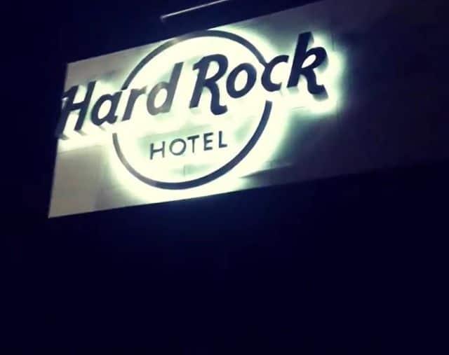 Hard Rock Hotel Dublin. Illuminated exterior sign.