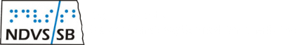 ND Vision Services/School for the Blind logo. NDVS/SB in letters and braille in a box shaped like the stae of ND