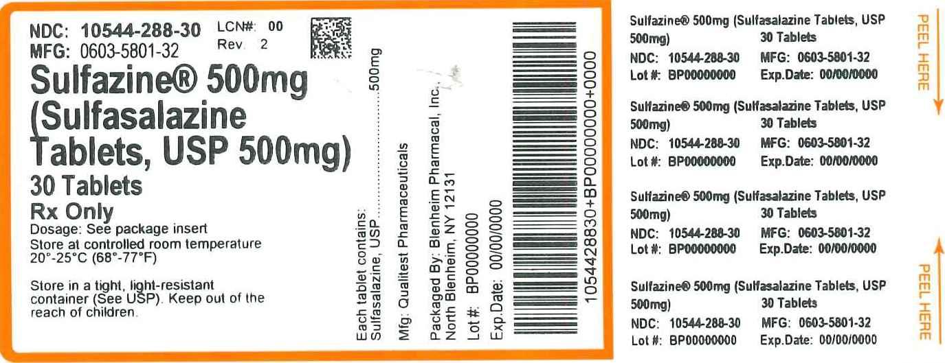 NDC 10544-288 Sulfasalazine Sulfasalazine