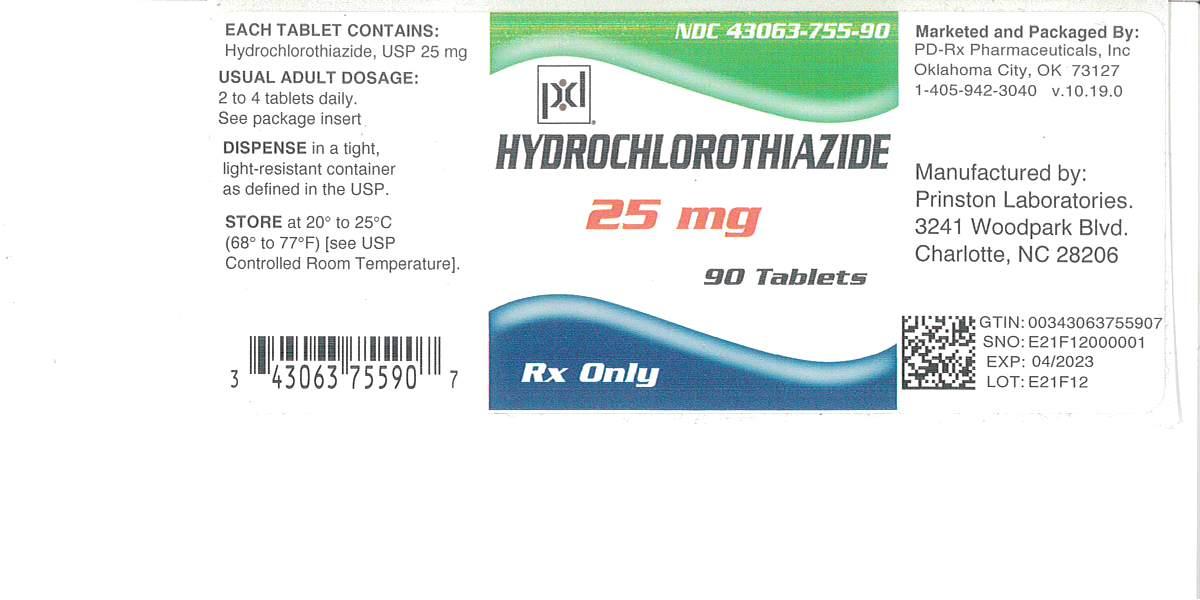 NDC 43063-755 Hydrochlorothiazide Hydrochlorothiazide