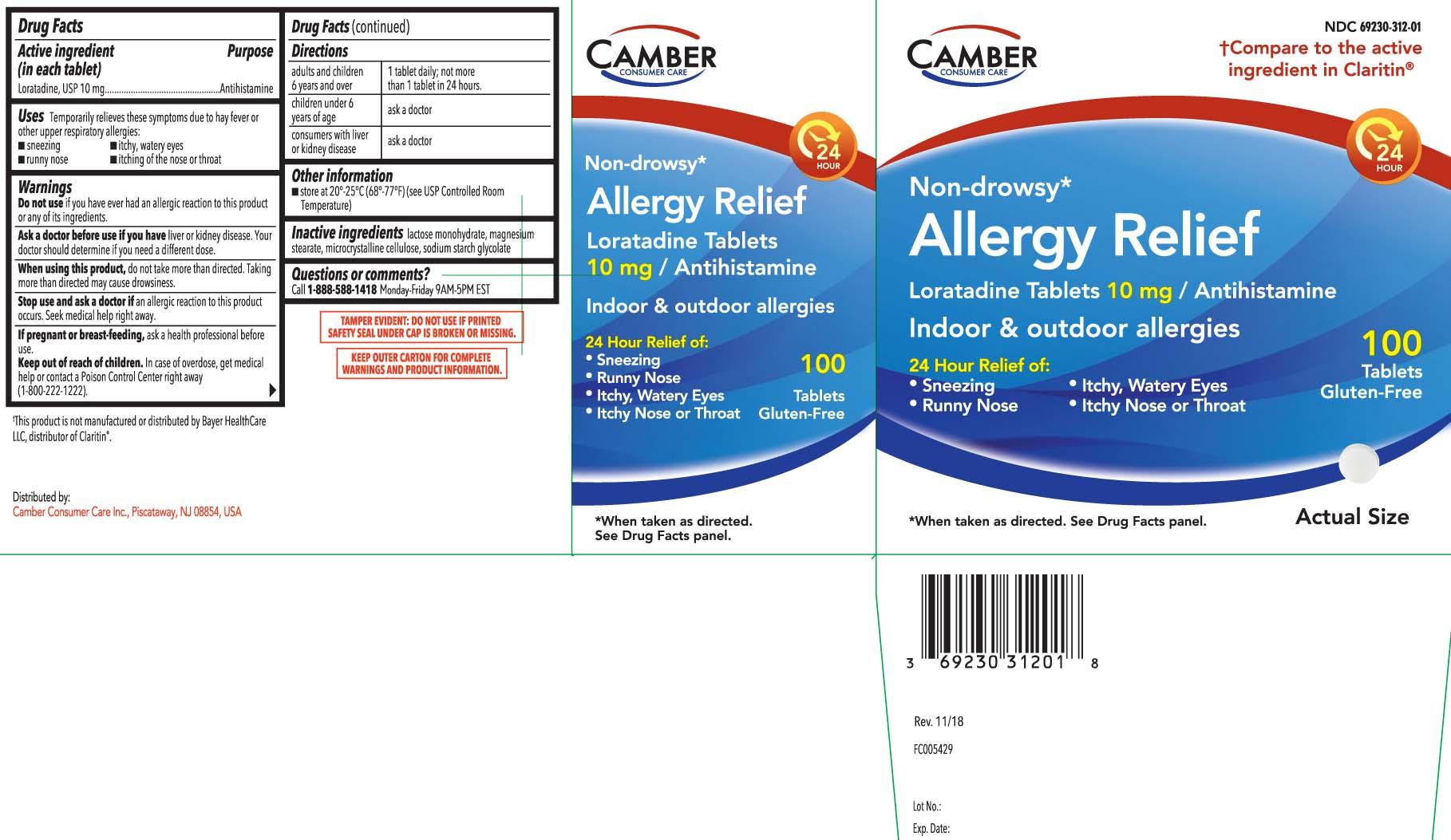 NDC 69230-312 Allergy Relief Non Drowsy Loratadine
