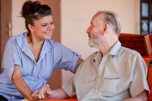 senior with nurse or carer