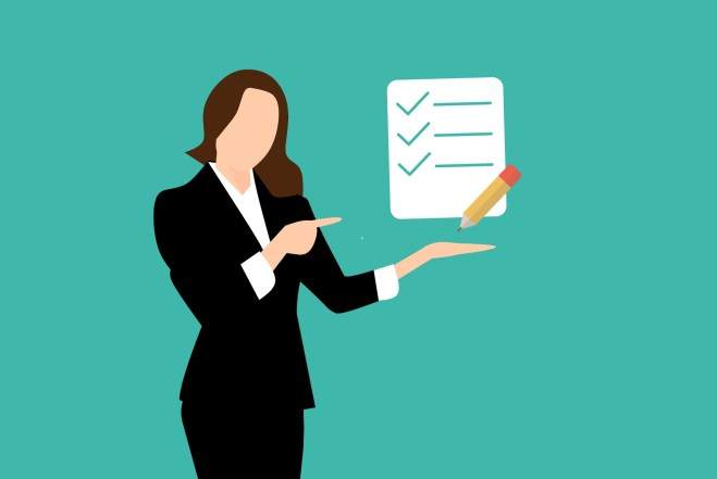 An illustration of a woman in business attire points to a checklist, representing the list of advice in this blog post.