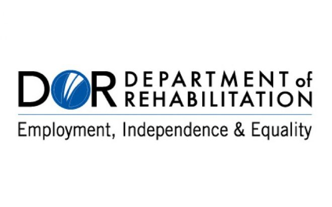 """The logo of the Department of Rehabilitation appears with its acronym """"D-O-R."""" The 'O"""" is a stylized blue circle with three stripes of white running through it diagnolly. Under the logo reads """"Employment, Independence, and Equality."""""""